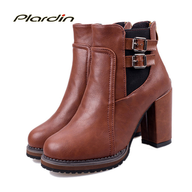 plardin New Plus Size Winter Woman Lace-Up Buckle Strap Shoes Female Martin Boots Thick Heel Platform Women Shoes Ankle Boots martin new winter with thick british style short canister female fall side zipper boots