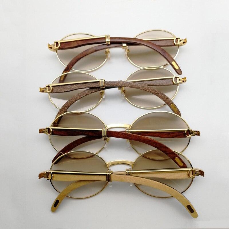 5445dcd8afbe1 Gafas de sol de madera Vintage para hombre Gafas redondas de madera para mujer  Gafas de lentes transparentes Gafas de sol de lujo para conducir y Club 55