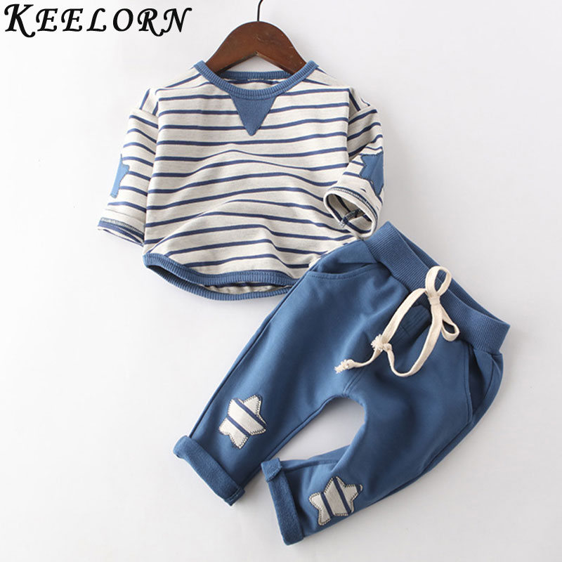 Keelorn Kids Clothing Sets clothes children spring boys&Girls clothing set striped toddler 2pcs star clothes sets Kids Clothes 2018 new cotton baby boy clothes summer toddler boys striped rompers sunhat 2pcs clothing set gentleman suit kids clothes