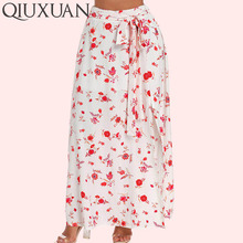 QIUXUAN alta cintura impresión Floral verano Falda larga mujeres Boho  tobillo-longitud Split tenedor largo 5d6354f51656