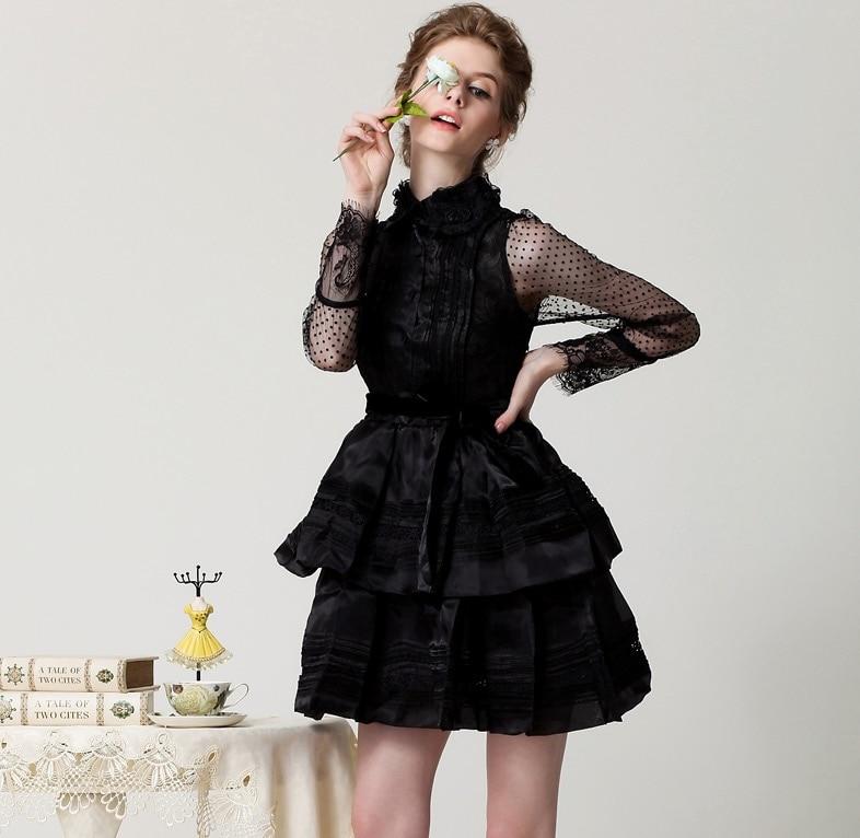Femmes Robes Mini Rétro Noir D'été Robe blanc Broderie Pleine Manches Européenne Femelle Dentelle De Ceinture Style Cour Date Plissée Sexy 2017 qCUdSq