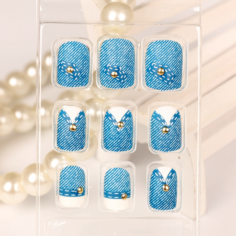 24pcs Short Full Cover Press On Nails Blue Jeans With