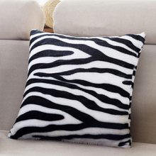 Fashion Classy Sexy Leopard Zebra Plush Soft Warm Flannel Home Decorative Pillow Covering Throw Seat Cushion Case 7A0394(China)