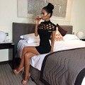 2017 Партия Женщины Dress Ночные Черепаха Шеи Club Dress Выдалбливают сетка Тонкий Твердые Платья Сексуальные Тощие Отрезать Черный Мини Bodycon
