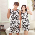 New arrival Pijamas Summer Women Men's Cow Pajamas Set Round Neck Sleeveless Couple Suits Black White Sopted Top Short Sleepwear
