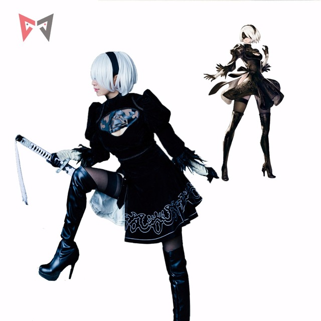 Athemis NieR Automata Cosplay Costumi YoRHa No. 2 di Tipo B cosplay costume 2B set formato su ordine