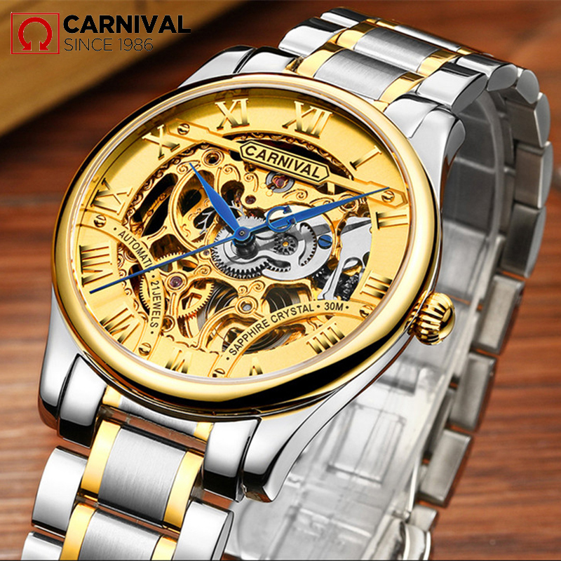 2017 New CARNIVAL Hollow Skeleton Mechanical Men Watch Winner Golden Top Brand Luxury relogio Fashion Steel Wristwatch Best Gift ik colouring new design retro hollow golden auto self windmechanical luxury watch men skeleton wristwatch original box for gift