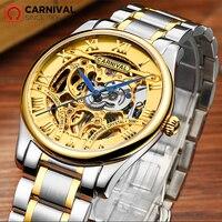 2017 New CARNIVAL Hollow Skeleton Mechanical Men Watch Winner Golden Top Brand Luxury relogio Fashion Steel Wristwatch Best Gift