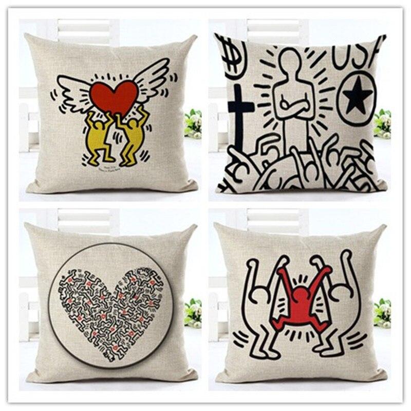 Abstract Painting Cartoon Printed Houseware Home Decor Cojines Printed Sofa Pillow Throw Linen Cotton Pillow Cushion Almofadas in Cushion from Home Garden