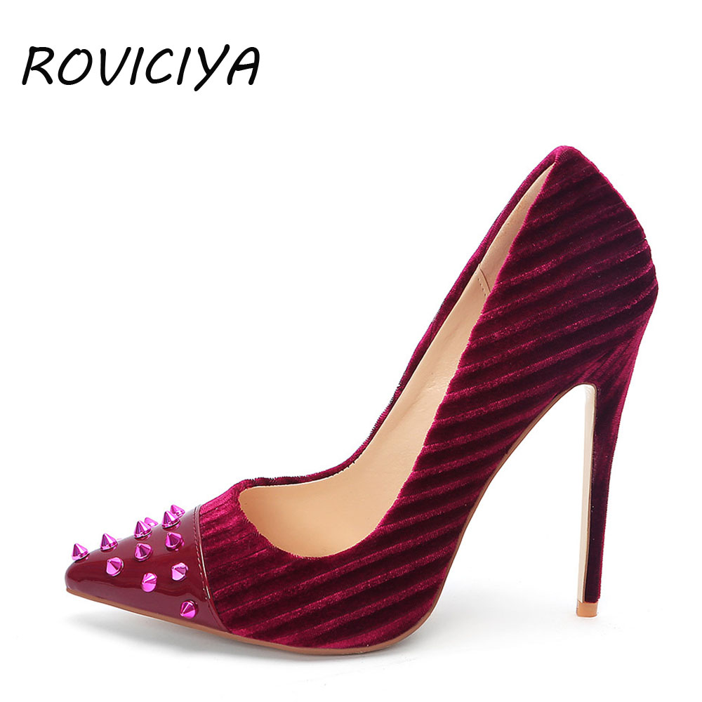 d9848072f28 12 cm Stiletto Women Pumps Velvet Sexy High Heel Pointed Toe with Rivet  Shallow Party Shoes