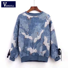 Winter Sweaters Women Crane bird Ladies Pullover Female Autumn Lace up Long sleeve Tricot Jumper Fashion Winter Tops 2018 New(China)