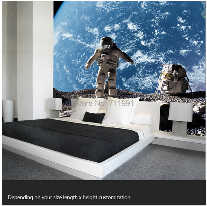 Buy custom photo wallpaper the astronaut for Space wallpaper bedroom