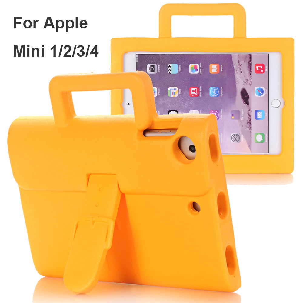 For Apple iPad Mini1/2/3/4 Case Multi-Color Briefcase Cover Kids Friendly Non-toxic EVA Foam Baby Safe Shockproof Stand Case
