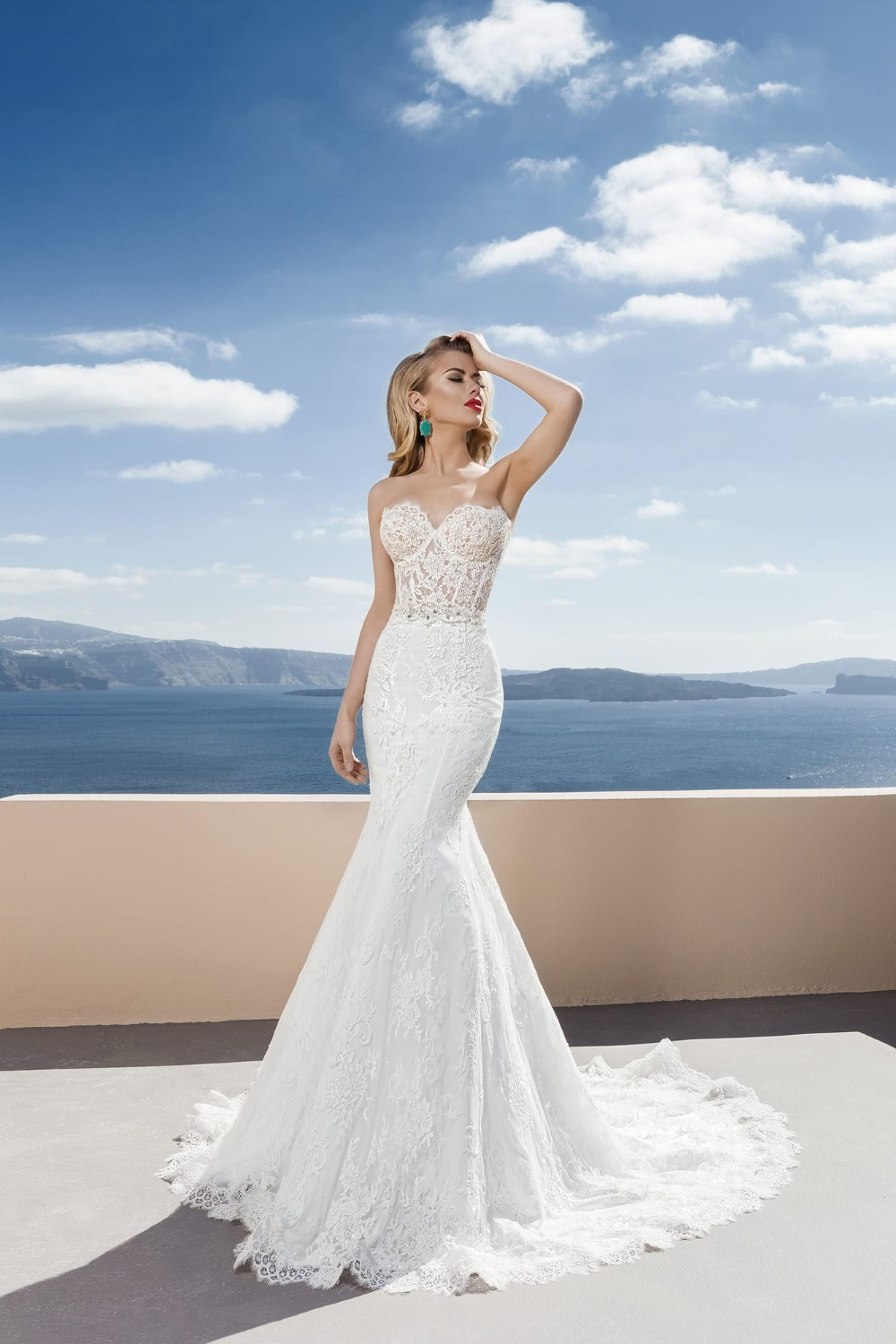 Sexy Lace Mermaid Wedding Dresses 2016 Sweetheart Long Fitted ...