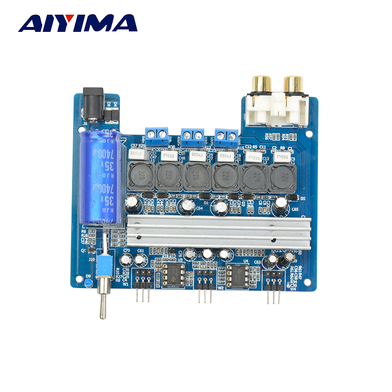Aiyima TPA3116D2 Subwoofer Digital amplifier Board Super Bass TPA3116 2.1 channel 2 * 50W+100W For 3-16Ohm Speaker 12V-24V 4 1 channel lm4780 amplifier finished board ac 24v 28v 4x68w 130w subwoofer