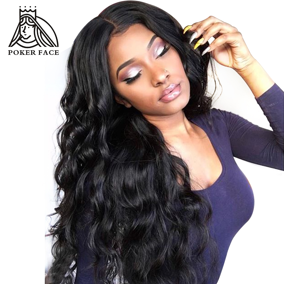Poker Face 250 Body Wave 360 Lace Frontal Wigs Body Wave Brazilian Pre plucked Remy Human