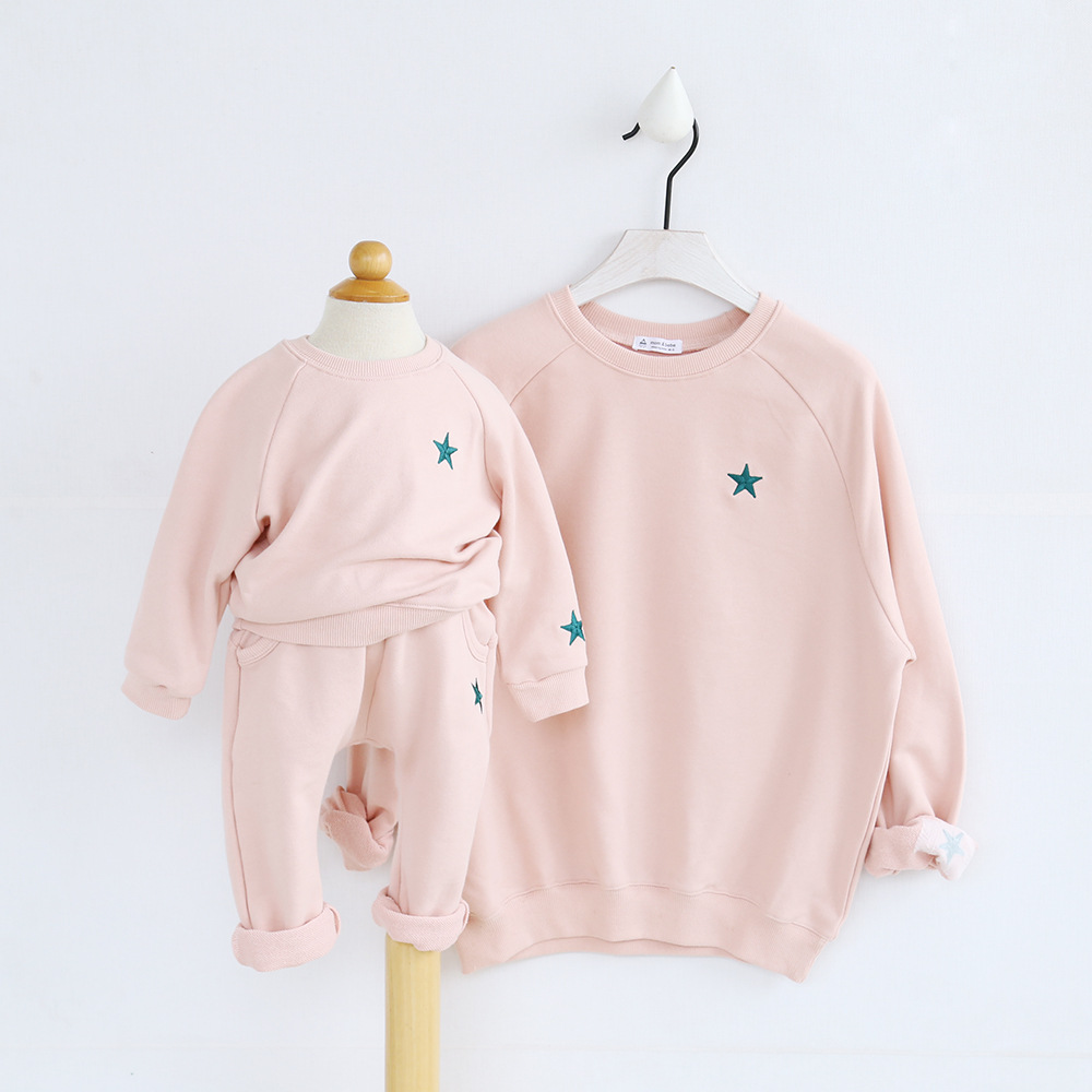 Mother And Daughter Clothes Hoodies Autumn Pink Color Long Sleeve Mommy And Me Clothes Top Family