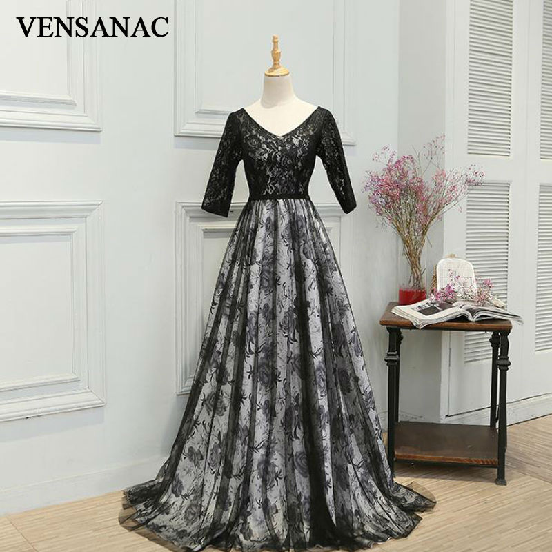 VENSANAC 2017 New A Line Embroidery V Neck Long Evening Dresses Half Sleeve Elegant Draped Lace Sweep Train Party Prom Gowns in Evening Dresses from Weddings Events