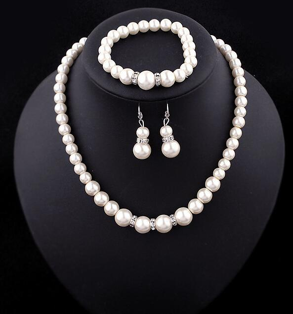 Fashion Classic Imitation Pearl Silver Plated Clear Crystal Top Elegant Party Gift Fashion Costume Pearl Jewelry Sets N85