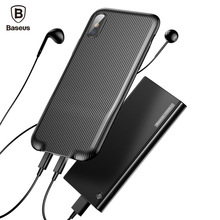 Baseus Audio Charge Case For iPhone X 10 Earphone Adapter Splitters Aux Back Cover Support Music Calling Data