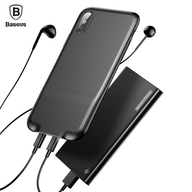 Baseus Audio Charge Case For iPhone X 10 Earphone Adapter Splitters Aux Back Cover Case Support Music Calling Data For iPhone X