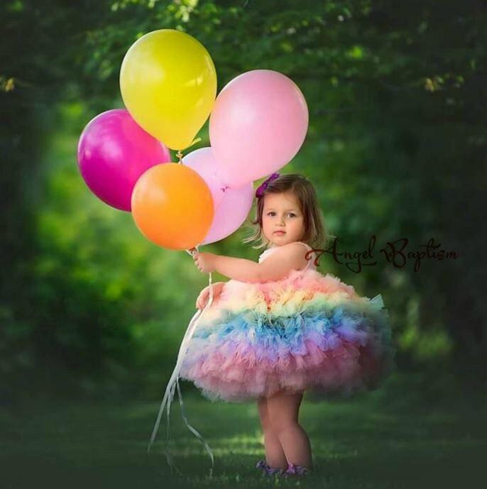 Mignon rose satin top cupcake arc-en-ciel bébé 1 an robe d'anniversaire gonflé tulle infantile tutu robes robe de bal enfant fête robe de bal