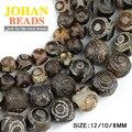 China Religión Tibetano de Dzi cuentas de Ojos marrón Natural de Piedra de ágata Redonda del grano Flojo 8/10/12 MM perlas para la fabricación de joyas pulsera DIY