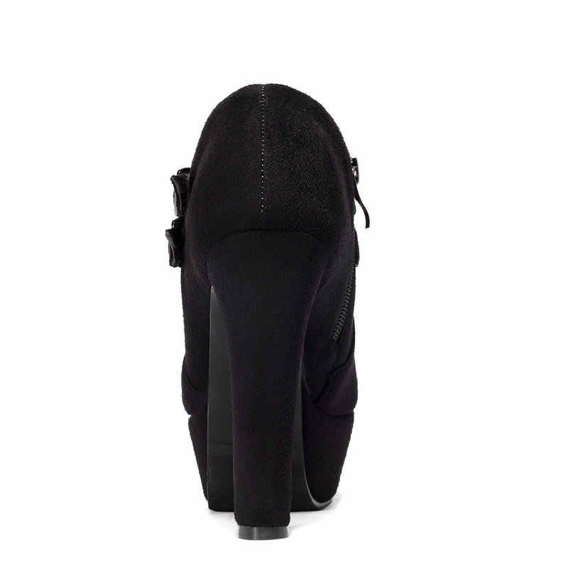 מגפי קרסול עקב גבוה שמנמן נשים חדשות אופנתיות נעלי אישה חורף רוכסן צד שחור אפור