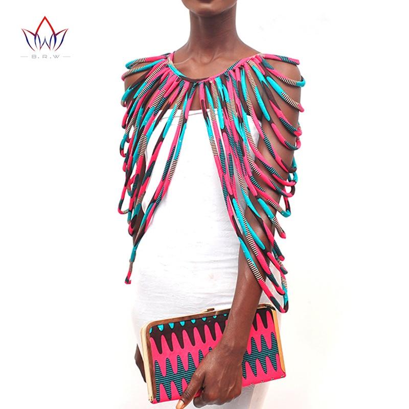 BRW 2019 africain Ankara à la main sangle colliers accessoires de mode bijoux cadeau Afircan tissu imprimé collier châle WYX15