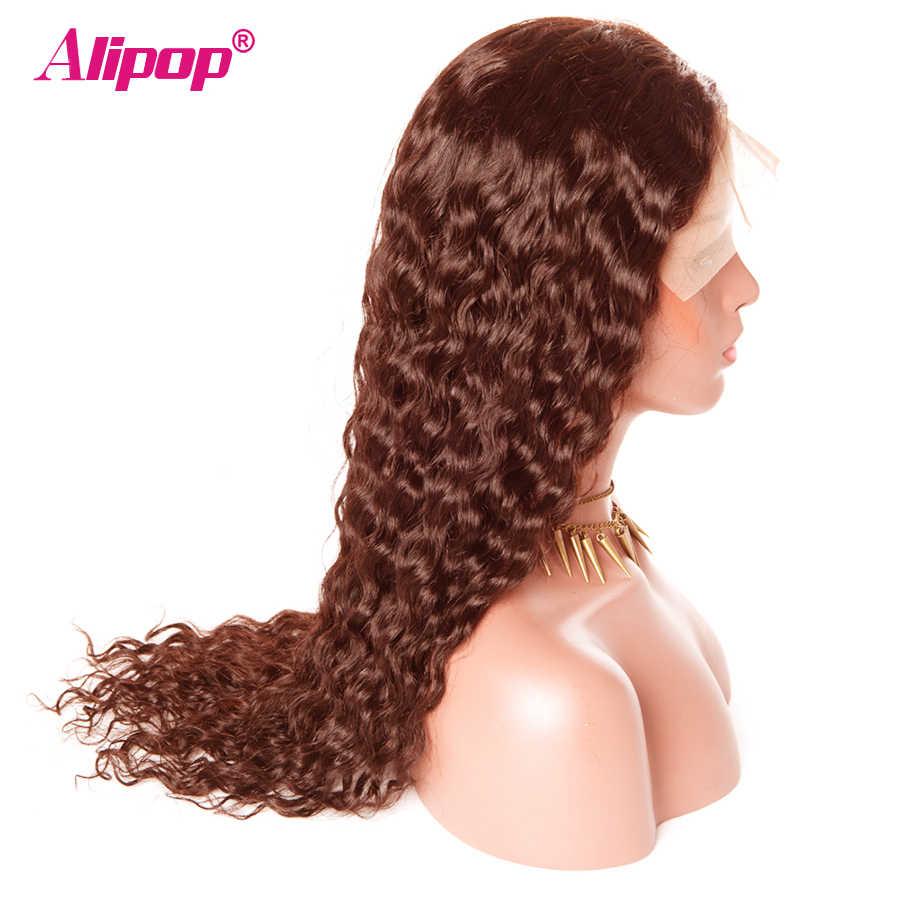 #4 Hellbraun 360 Spitze Frontal Perücke Brasilianische Wasser Welle 180 Dichte Spitze Front Menschliches Haar Perücken ALIPOP Menschlichen haar Perücke Remy