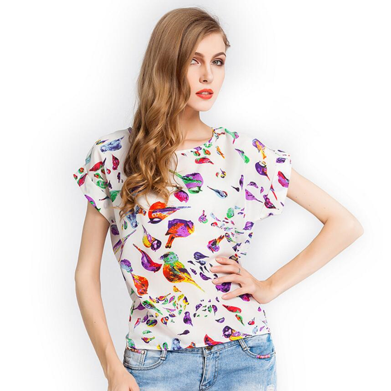 CHSDCSI Women   Blouses     Shirts   Chiffon Feminina Top Tee Loose   Shirt   2018 Woman Clothing Feather Blusa Summer Tops   Shirt   Floral
