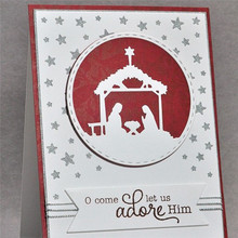 Naifumodo Dies Cutting Christmas Birth of Jesus Metal for DIY Scrapbooking Album Embossing Card Paper Crafts Template