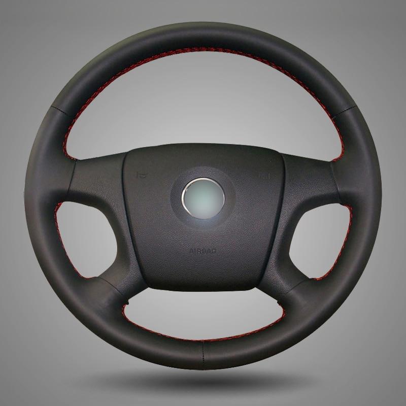 BANNIS Negro Cuero artificial DIY cosido a mano cubierta del volante para Old Skoda Octavia Skoda Fabia