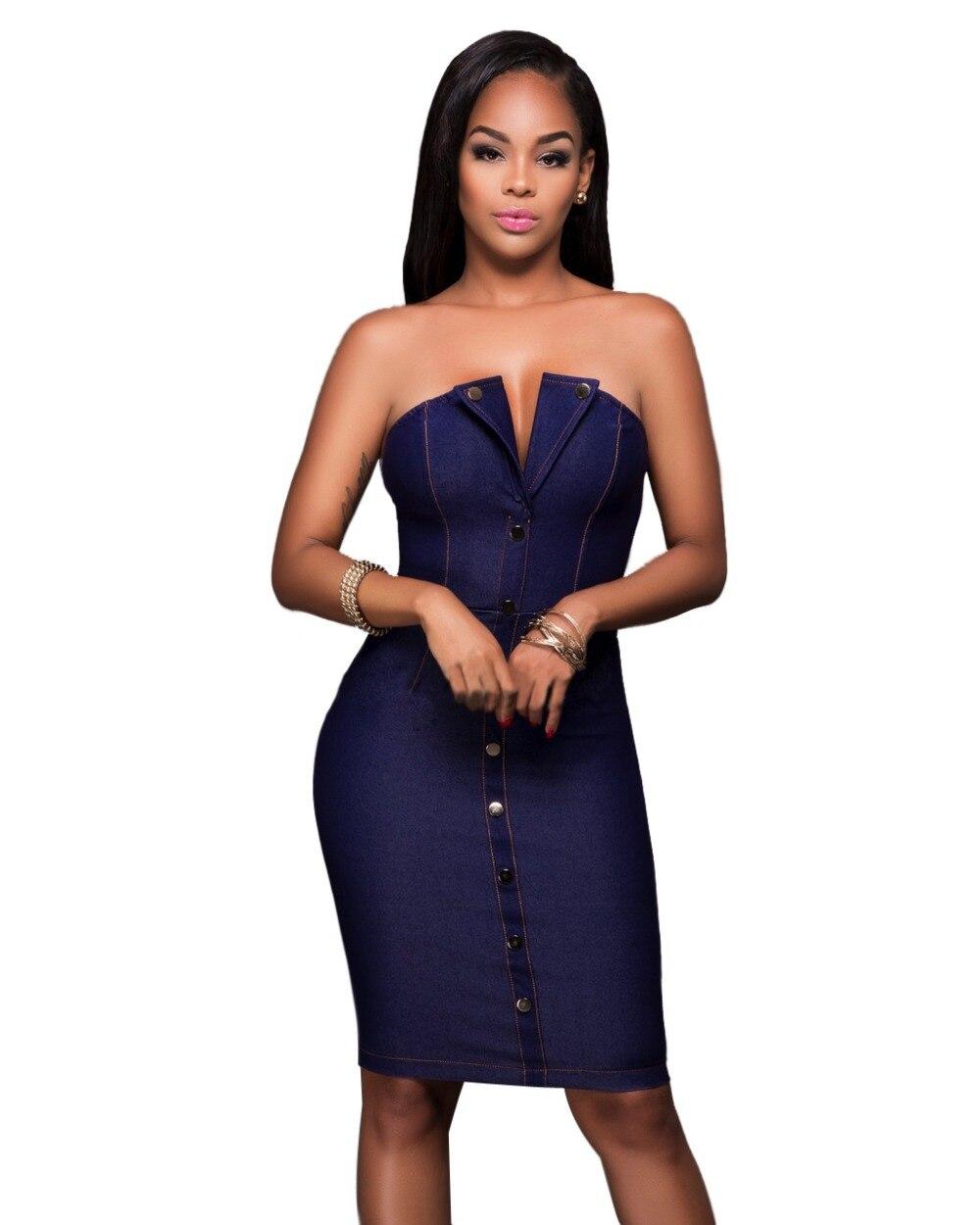 Popular Denim Strapless Dress-Buy Cheap Denim Strapless Dress lots ...