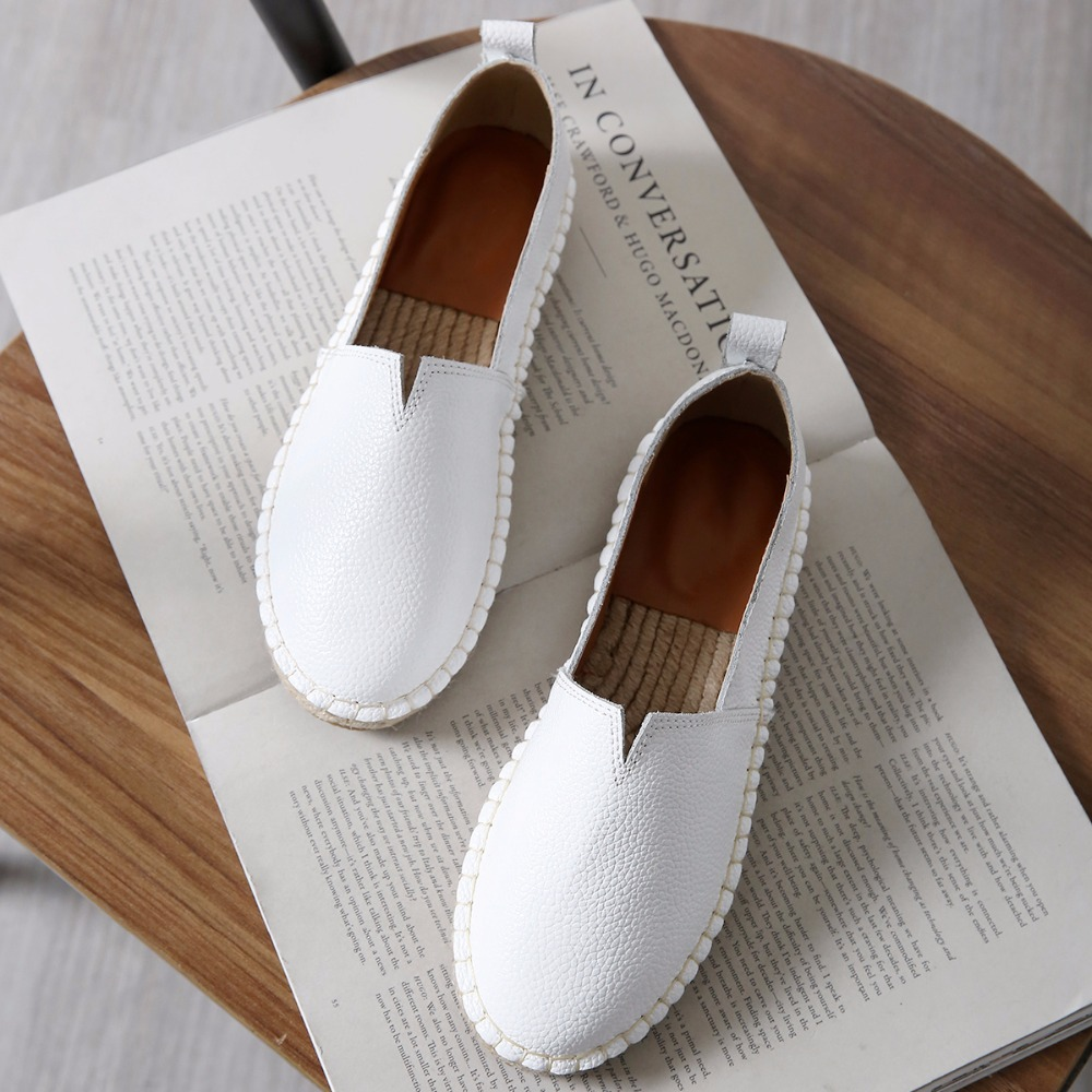 2018 Women Genuine Leather Espadrilles Hemp Shoes Brand Designer Ballet Flats Slipony Loafers Slip On Loafer