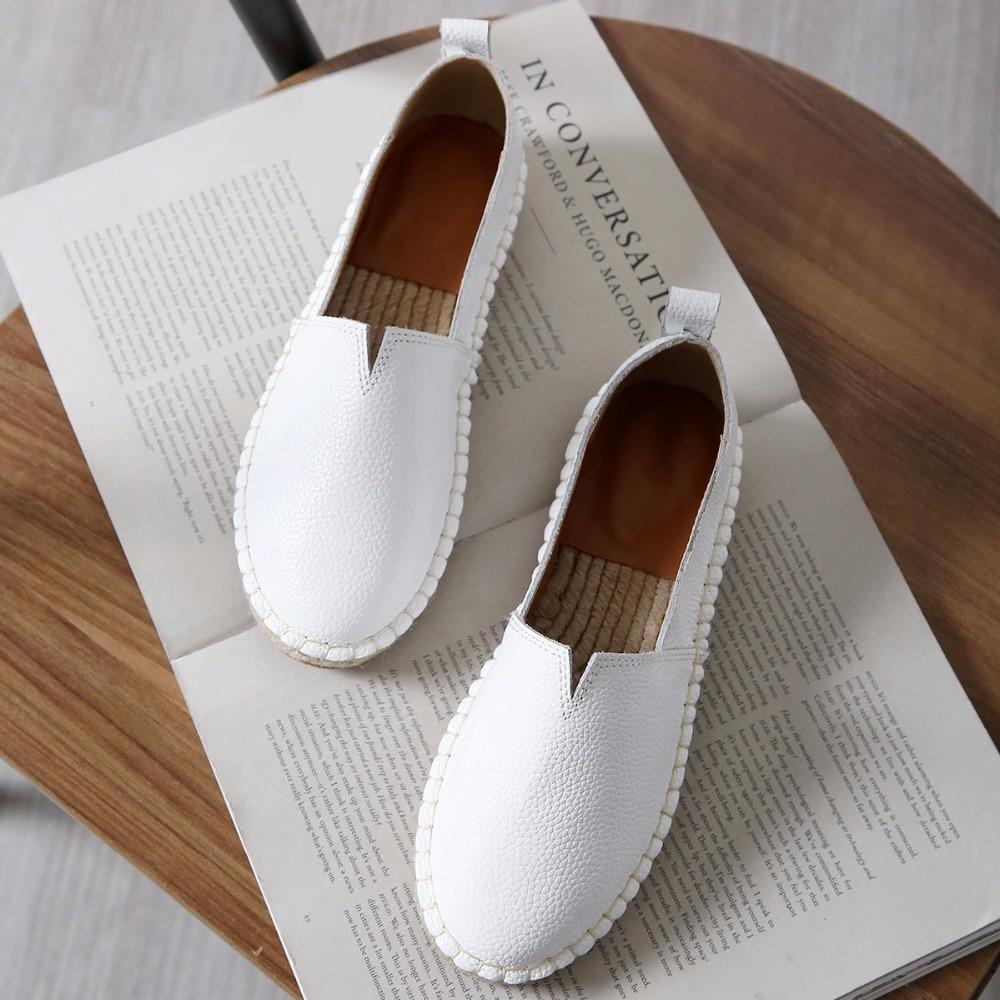 2018 Women Genuine Leather Espadrilles Hemp Shoes Brand Designer Ballet Flats Slipony Loafers Slip On Loafer Black White
