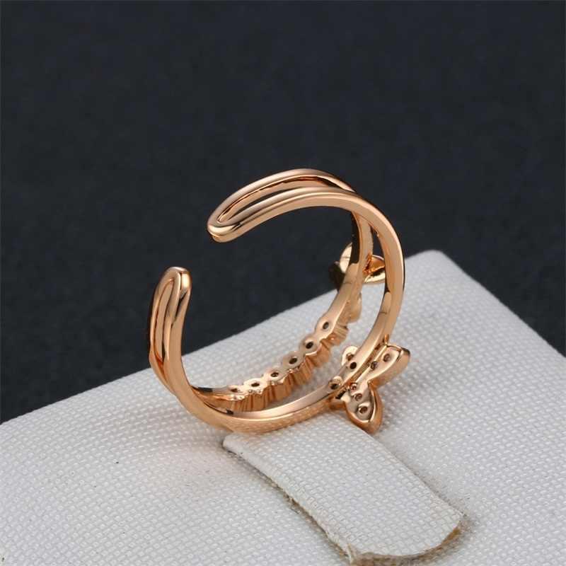 โรแมนติกงานแต่งงานอุปกรณ์เสริมเปิดแหวน Rose Gold สีออสเตรียคริสตัล CZ แหวนผีเสื้อผู้หญิงหมั้นเครื่องประดับของขวัญ