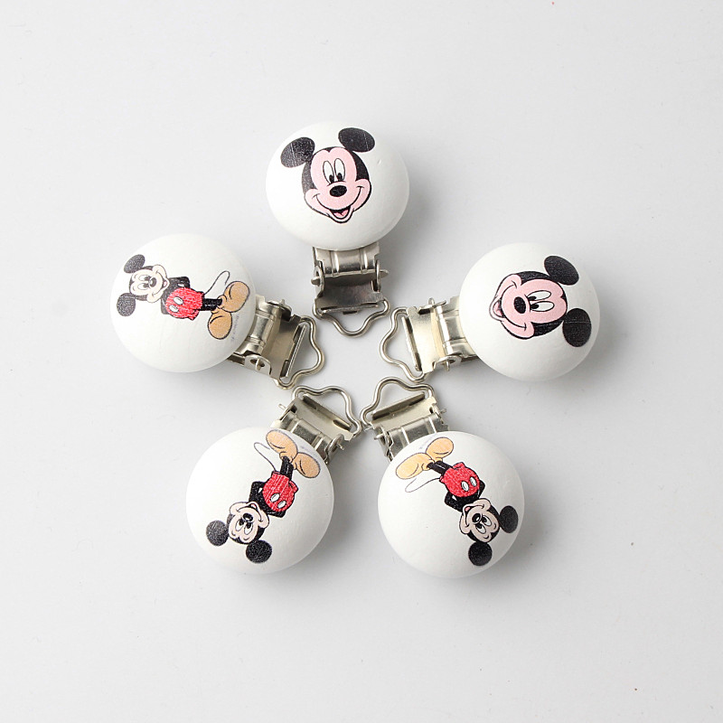Mouse Pattern Metal Wooden Baby Safety Pacifier Clips Holders Cute Infant Teething Soother Clasps Holders Accessories 5Pcs/Lot