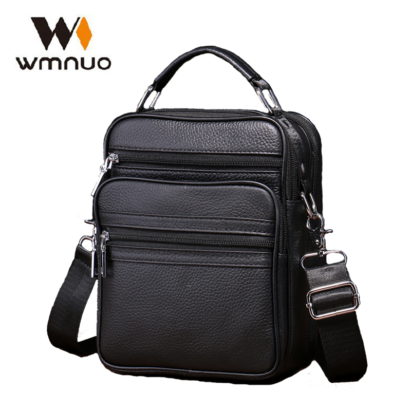 5c5817dd21 Wmnuo Genuine Leather Mens Bags Handbag Soft Cow Leather Male Crossbody Bags  Small Flap Casual Messenger