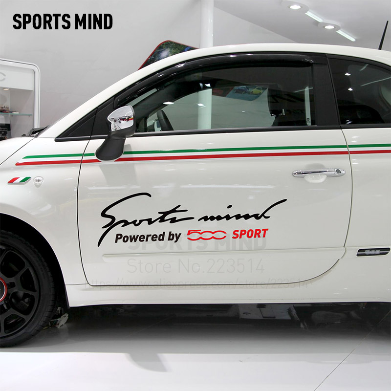 2 Pieces Sports Mind Car-Styling On Car Body Reflective material Decals Vinyl Sticker For FIAT 500 accessories