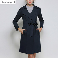 Autumn Trench Coat Navy Blue Turn-down Collar Open Stitch Sashes Pocket Women's Clothes Spring Outerwear Tops Plus Size 4XL 3XL