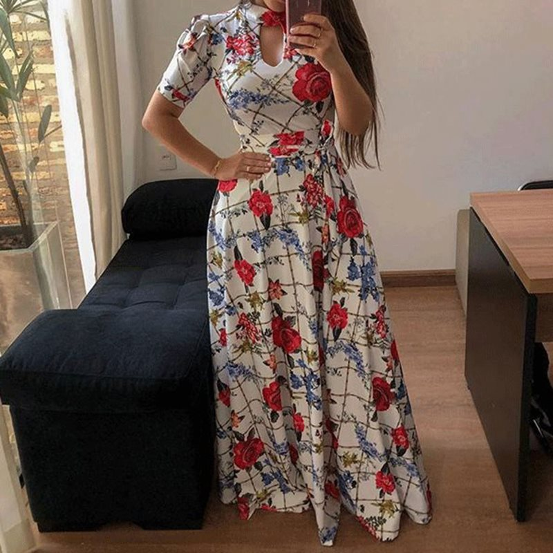 Summer Sexy Club Party Beach Gray Plus Size Women Long Party Casual Hollow Print Leopard White Female Fashion African Maxi Dress in Dresses from Women 39 s Clothing