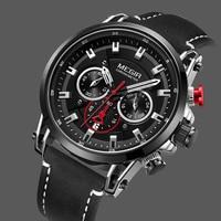 Mode Marke Megir herren Uhr Chronograph Quarz Uhren Mann Lederband Uhr Sport Armee Datum Armbanduhr Relogios Masculino-in Quarz-Uhren aus Uhren bei