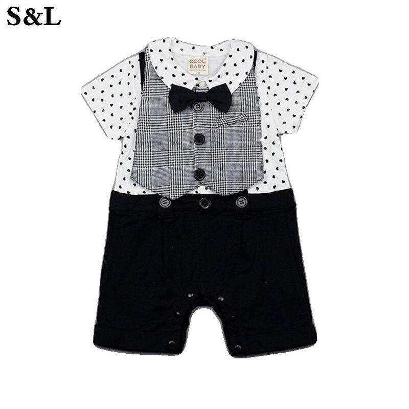 S&L Ins Hot Style Childrens Clothing Infant Baby Romper Suit False Straps Male Lapel Gentleman Bib Children Garments