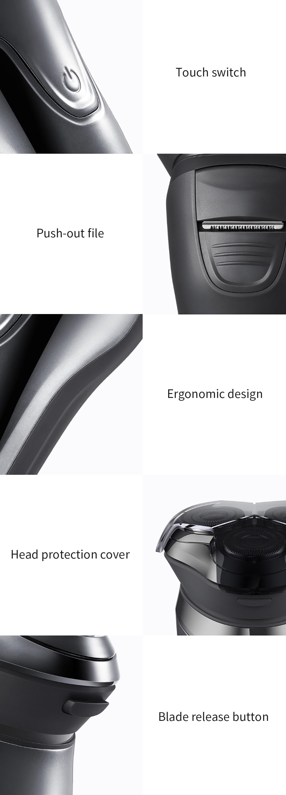SOOCAS SO WHITE ES3 USB Rechargeable Electric Shaver xiaomi razor 3 head Electric Razor for men beard trimmer shaving machine 12