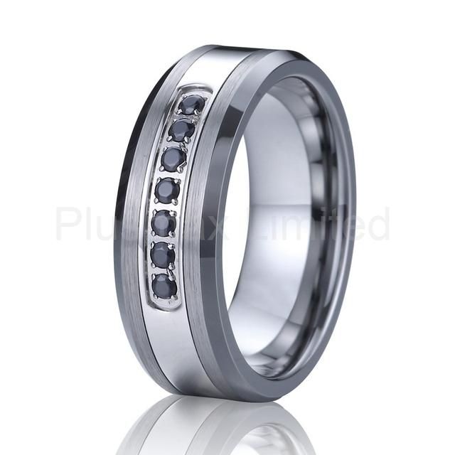 luxury black cz diamond wedding band tungsten carbide ring men super cool fashion designer jewelry anillos