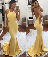 Mermaid Halter Long Yellow Prom Dress 2017 High Quality Custom Made Women Party Gowns Open Back
