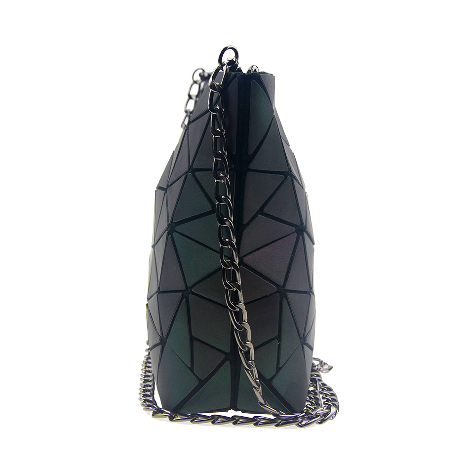 Chameleon Style Us 33 98 Leatury Hobos Women Bags Chameleon Style Chain Luminous Geometric Laser Lattice Pu Female Purse Designer Evening Bag Sac A Main In Shoulder