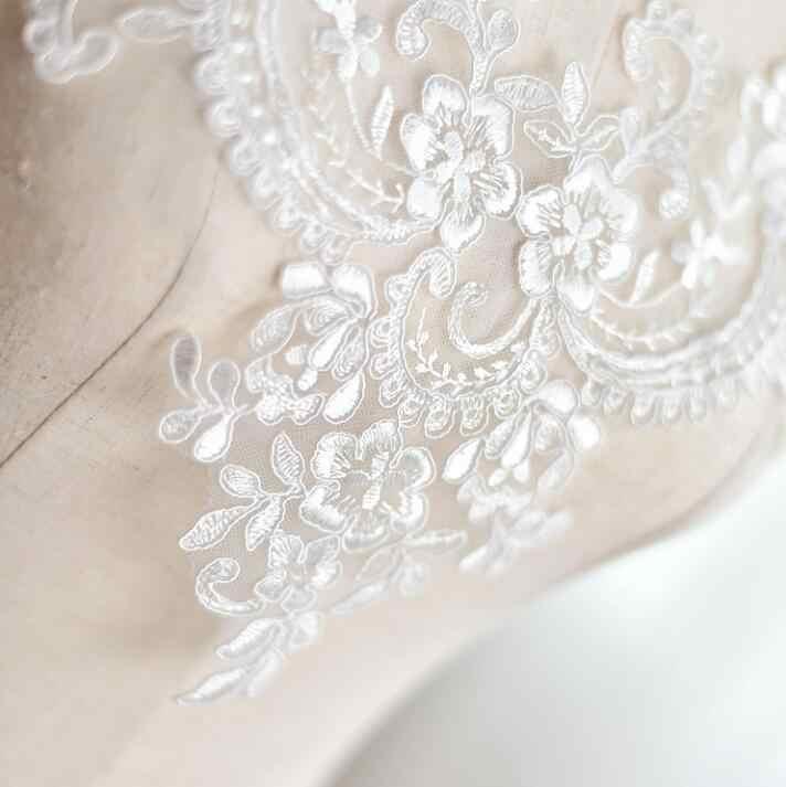 1 stuk Ivoor Kleur Mooie Wedding Bridal Guipure Borduurwerk Kant Kraag Applique