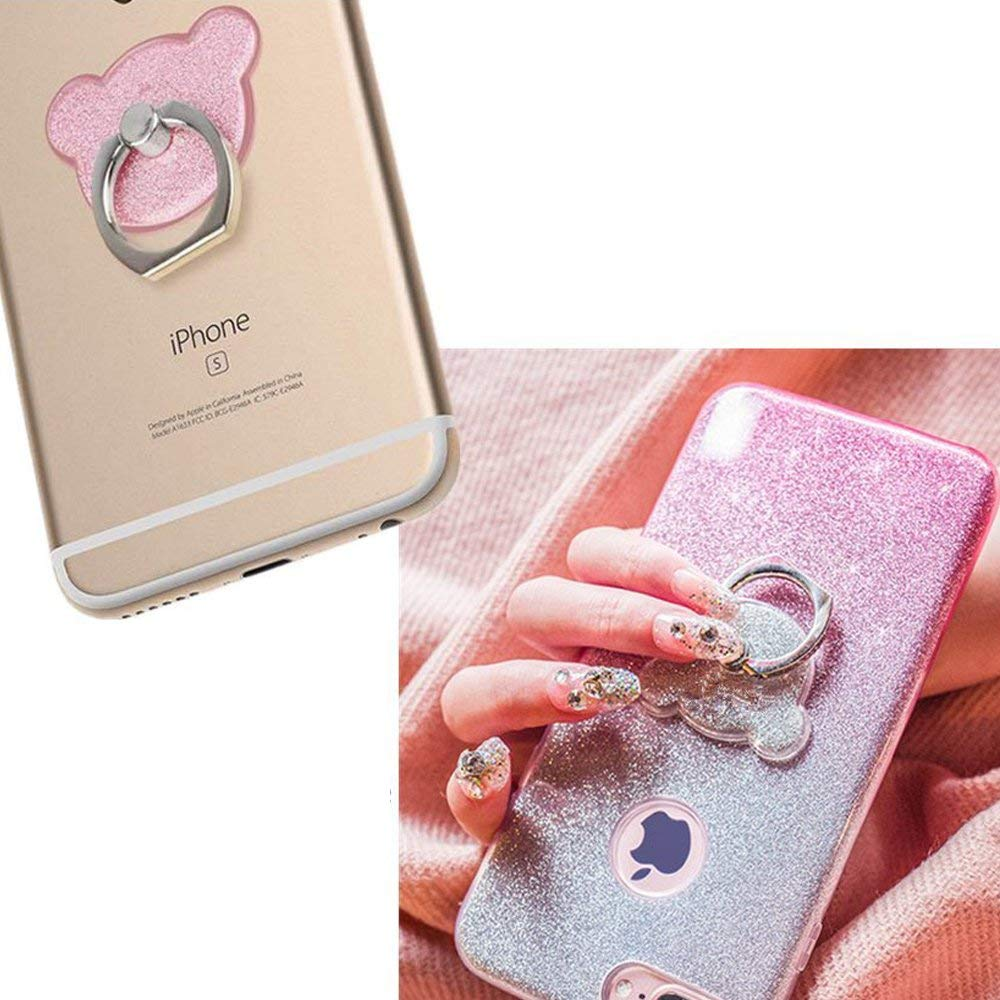 PORTEFEUILLE Portable cute bear universal mobile lazy neck mobile phone holder stand finger ring card stand office accessories